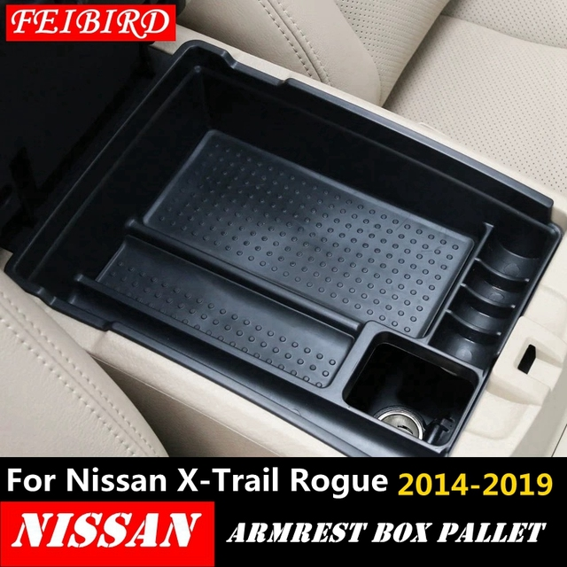 For Nissan X Trail X Trail T32 Rogue 2014   2019 Black Central Console Multifunction Storage Box Phone Tray Accessory