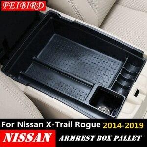 Image 1 - Черная центральная консоль для Nissan X Trail X Trail T32 Rogue 2014 2019, многофункциональный ящик для хранения, лоток для телефона, аксессуар