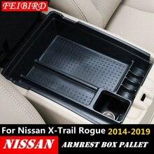 Para nissan x trail x trail t32 rogue 2014   2019 preto console central caixa de armazenamento multifuncional bandeja do telefone acessório