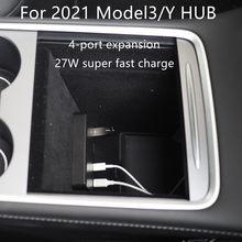 For 2021 Tesla Model3 / Y HUB Tesla Model 3 Accessories USB Splitter Hub Docking Station Speed Max Hub Extender Charger