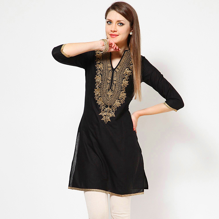Indian Dress For Women Ethnic Blouses Embroidery Vestido Indiano India Clothing Women Suties Pakistani Kurta Kurti Dresses Black
