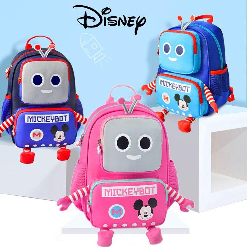Disney Cartoon Backpack Kids Robot Baby Kids Backpack Gilrs Boys School Bag Kids Bag Mickey Minnie High Quality Pre-design