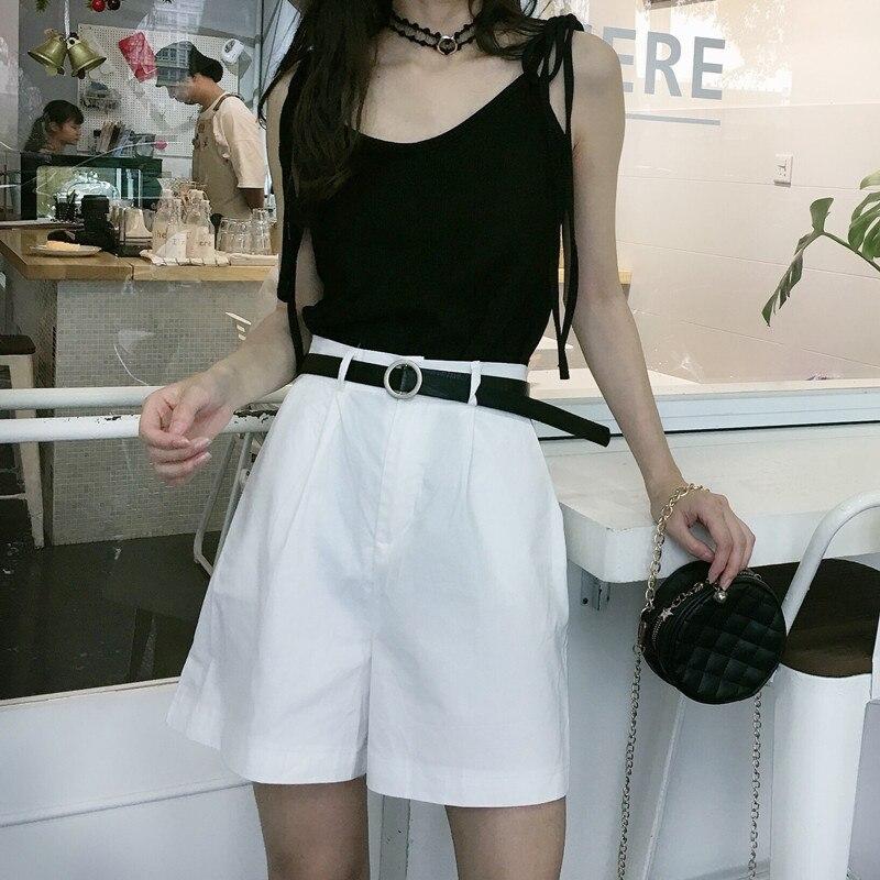 2020 Summer White Cargo Shorts Women  High Waist Black Wide Legs Belt Short Pants Koean Vinatge Casual Short Trousers