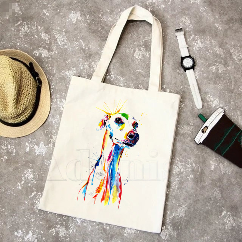 Greyhound Dog Animal Pet New Arrives Art Canvas Bag Totes Simple Print Shopping Bags Girls Life Casual Pacakge