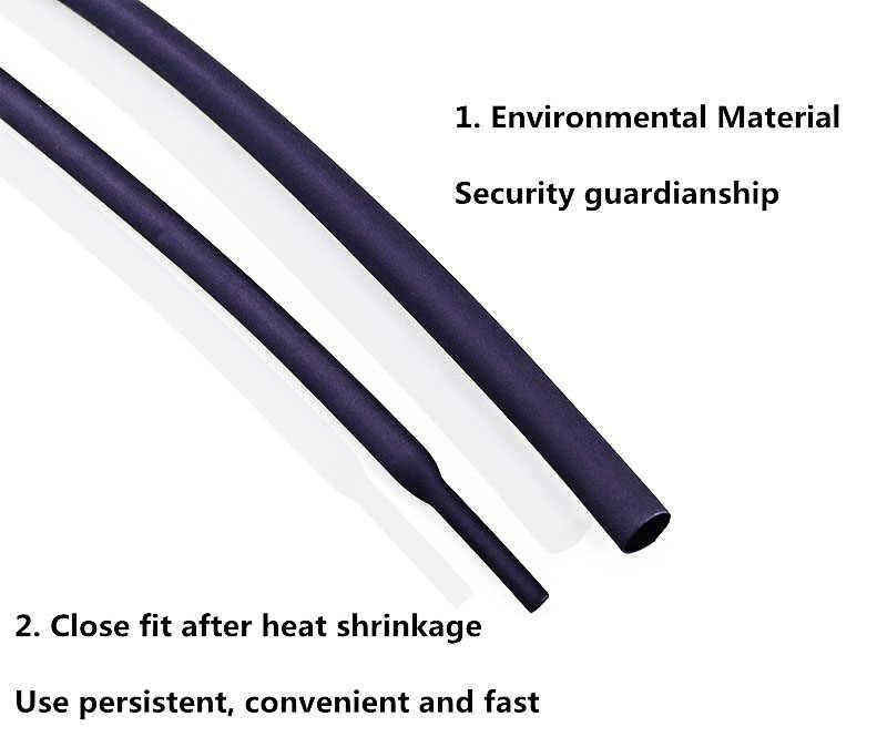 5 metre/grup siyah 1mm 1.5mm 2mm 2.5mm 3mm 3.5mm 4mm 5mm 6mm isı Shrink boru tüp