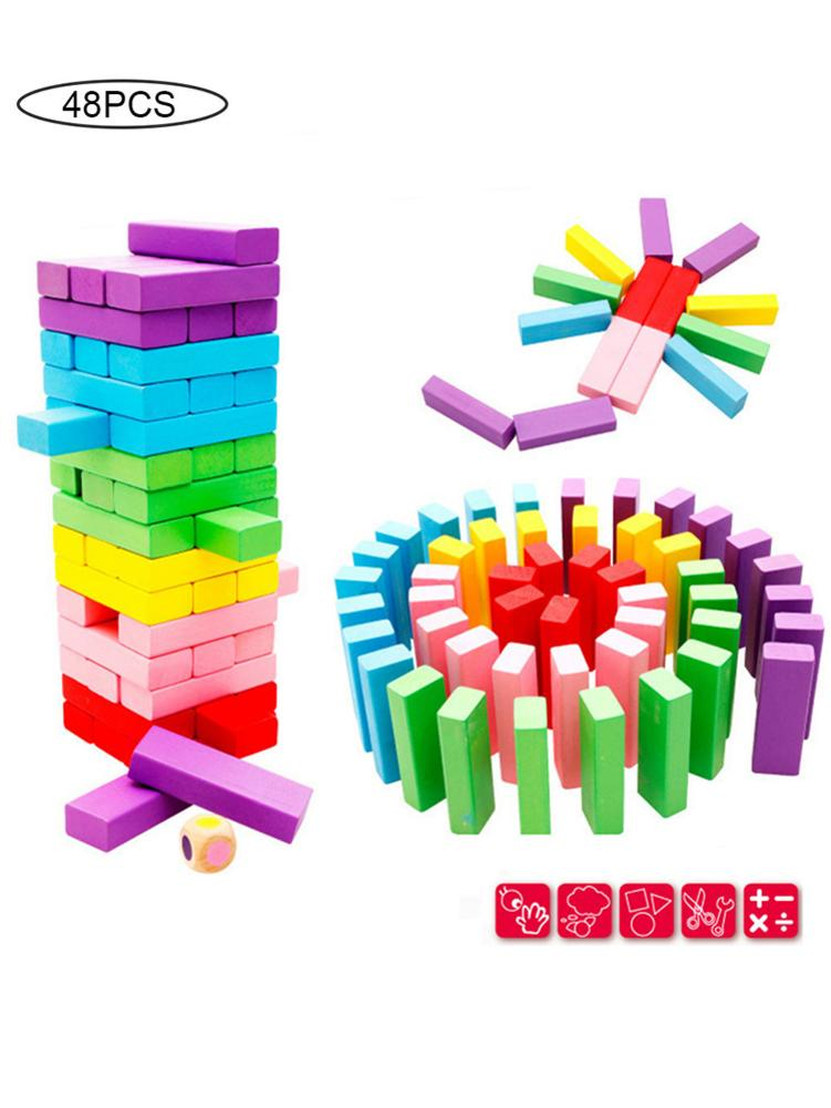 48PCS DIY Tower Wood Assembled Building Blockes Toy for Kid Familys Boardes Game Dominoing Extract Building Educational Toy Gift