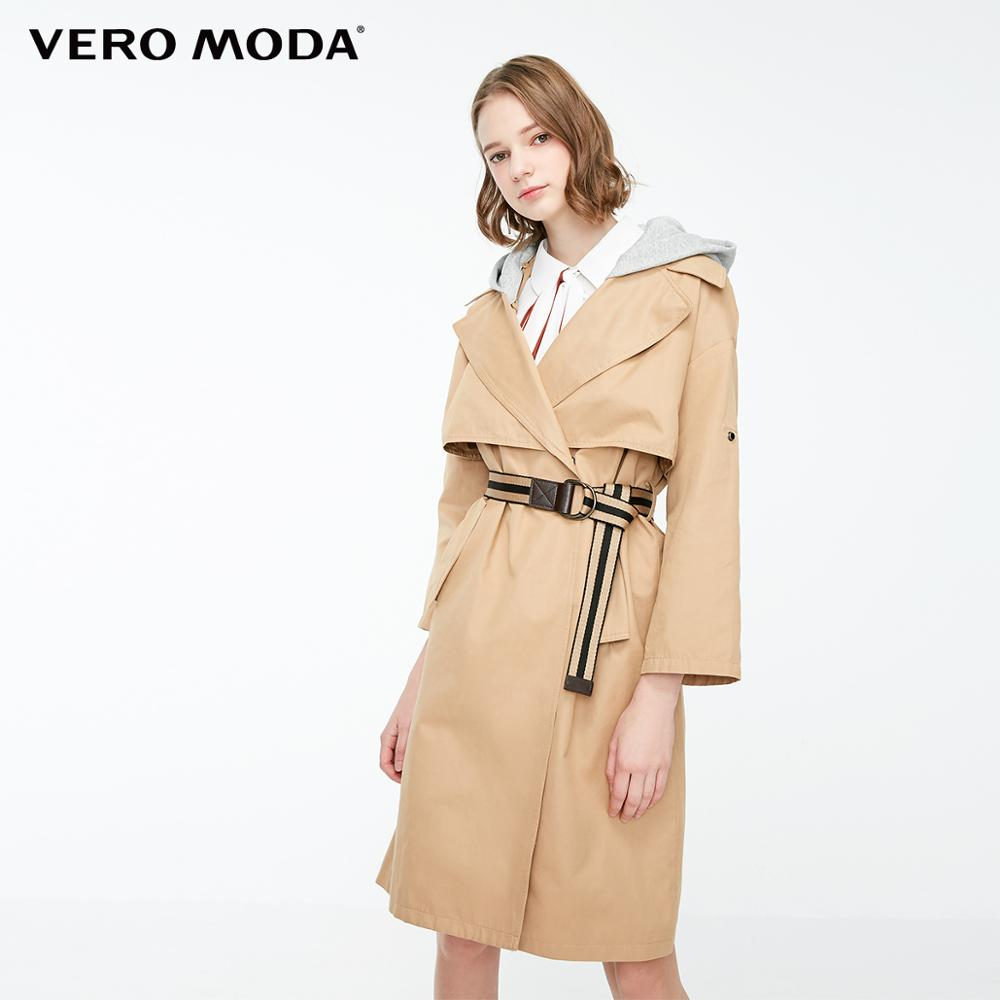 Vero Moda Women's Detachable Hood Cotton Trench Coat | 319121515