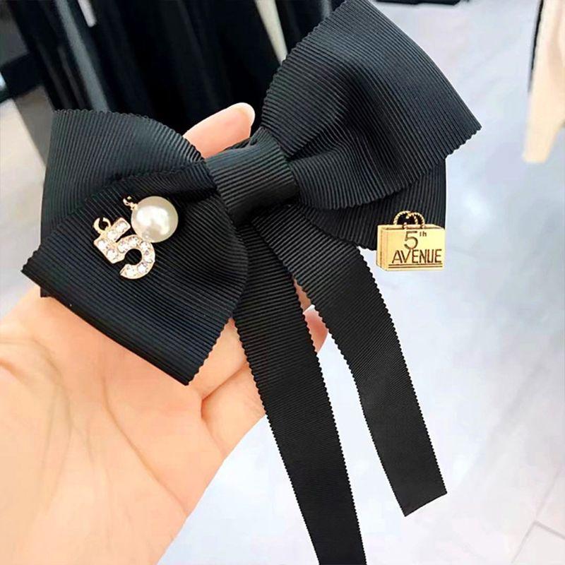 Women Long Ribbon Bow Tie Brooch Number 5 Faux Pearl Lapel Pin Pre-Tied Necktie H37C