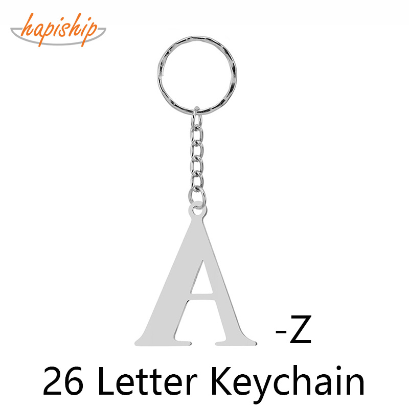 Hapiship Keyring 26 Letter Cat Number Animal Keychain Stainless Steel Jewelry Keyring Charm Gift Women Bag Accessories Wholesale