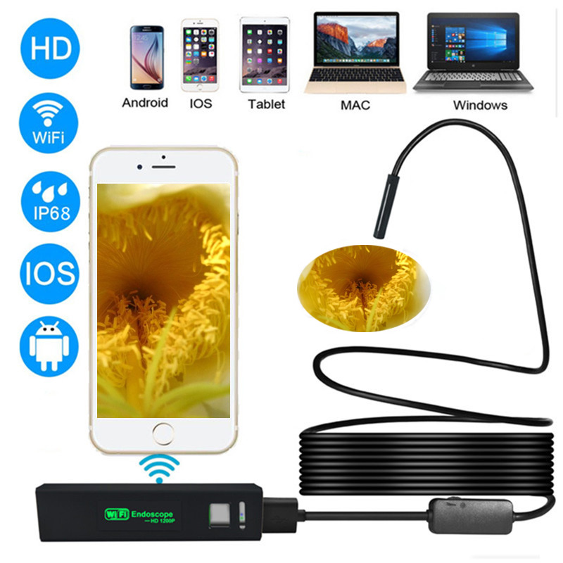 Fuers 8mm 1200P HD WiFi Inspection Camera IP68 Waterproof USB Endoscope Borescope Support Android IOS Iphone Windows Mac Systems