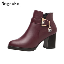 Designers 2019 New Autumn Winter Women Shoes Black High Heels Boots Female Platform Ankle Boots Chunky Heel Shoes