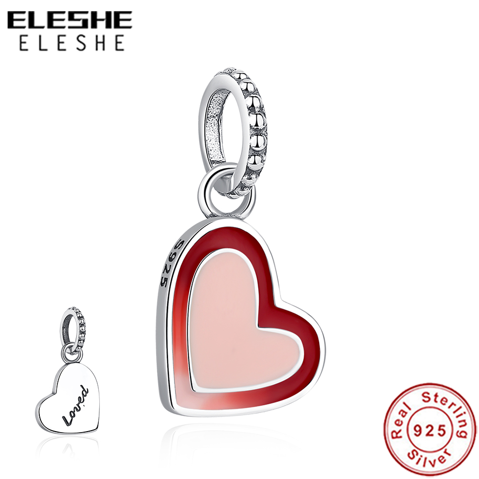 ELESHE Red Enamel Love Heart Charm Fit Original Pandora Charms Bracelet Necklace 925 Sterling Silver Bead DIY Berloque Jewelry