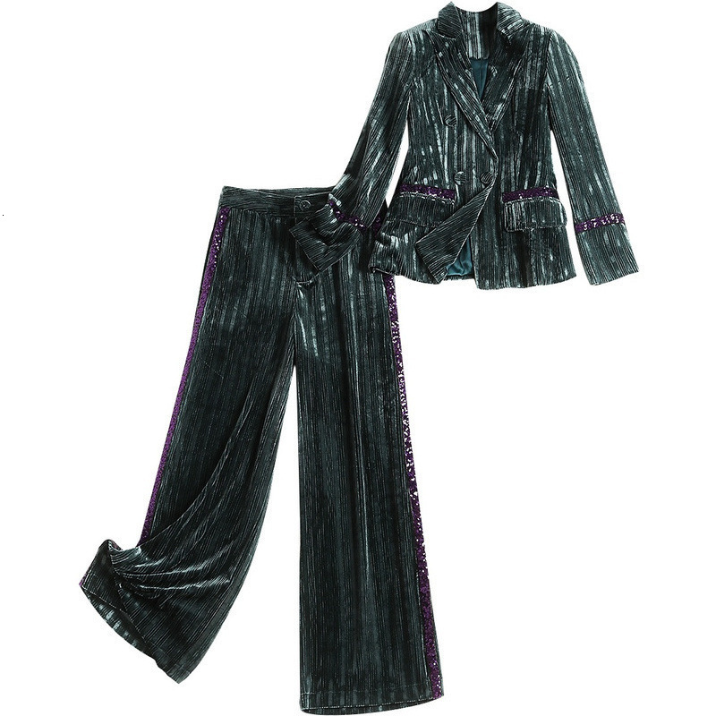 Escritório da Senhora Da forma Calças Profissionais Ternos Stripe Blazer e Calça Dois Set Outono Inverno Nova Mulher Ouro de Veludo Terno Ocasional conjuntos