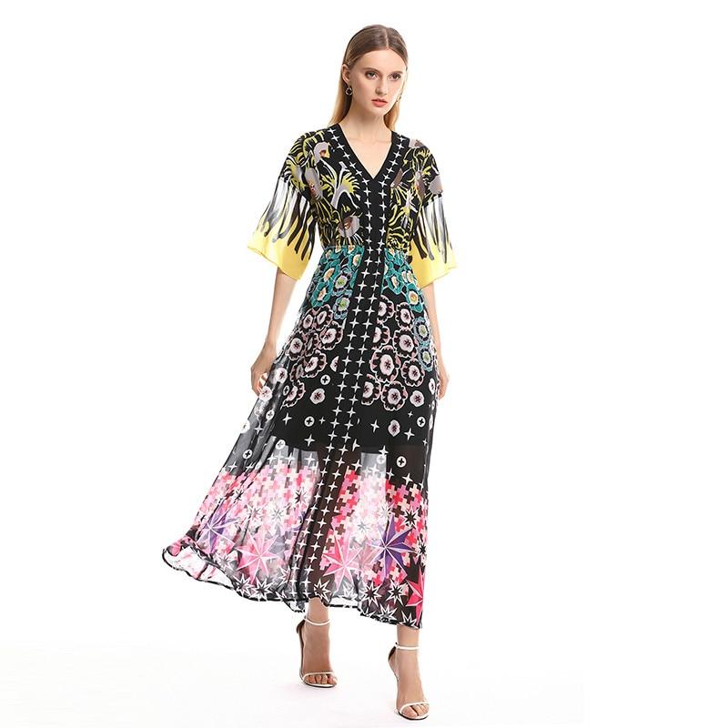 2019 nueva llegada otoño verano moda Vestido largo cuello en V manga larga estrella estampado tobillo Vestido de mujer