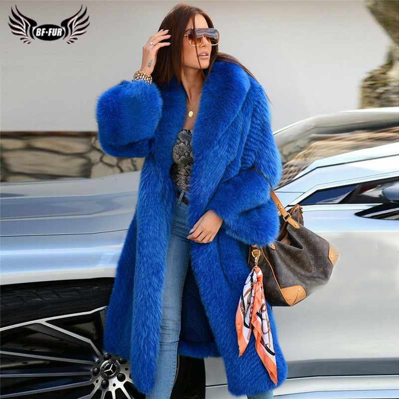 100cm Long Women Fashion Plus Size Blue Fox Fur Coat With Big Lapel Collar Natural Real Fox Fur Jacket Warm Winter Overcoats