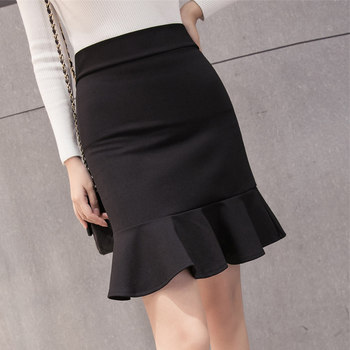 Skirts women korean style was thin skirt wild solid color casual high waist fishtail mini skirt ruffled skirt female black skirt 2019 korean version of the new skirt female was thin spring rivet high waist elastic waist black pleated skirt s xxl mini skirt