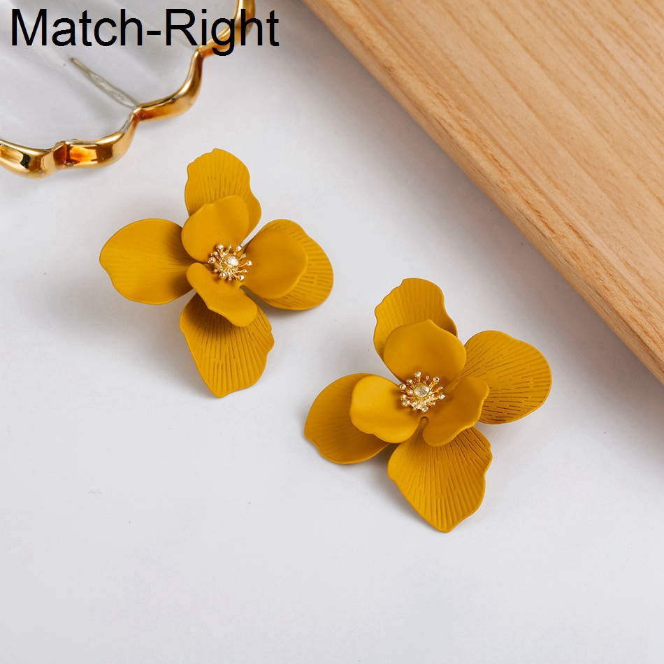 Match-Right Women Statement Big Flower Earrings Cute Stylish Korean Drop Earrings Pendant Female Jewelry amazing price image