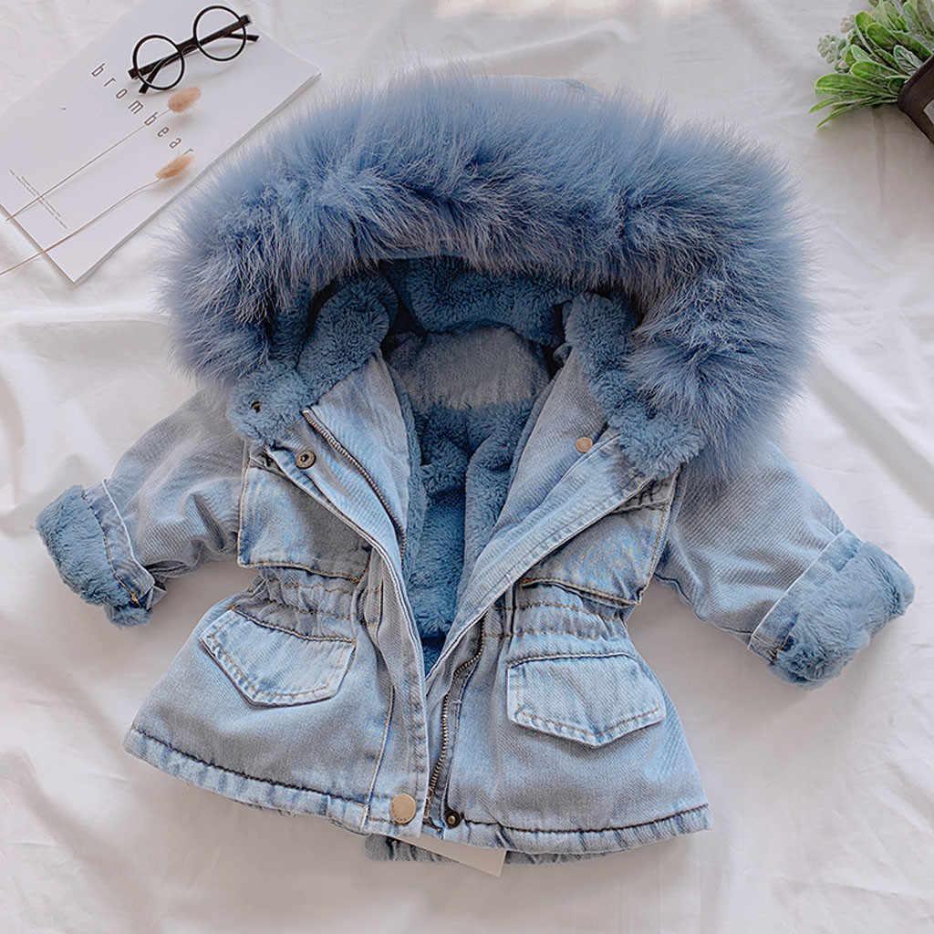 Boutique 2020 inverno bebê menina denim jaqueta além de veludo pele real quente da criança menina outerwear casaco 4 anos crianças infantil parka
