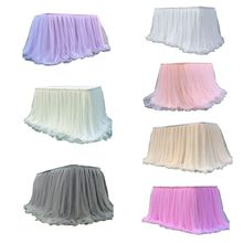 Table-Skirt Wedding for Party Home Birthday Decoration Dessert Tulle Colorful