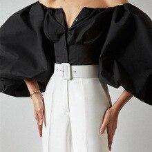 French temperament new design sense long-sleeved bubble lantern sleeves leaky shoulder European beauty shirt shirt
