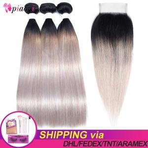 Pre-gekleurde OT Zilveren Peruaanse Haar Bundels Met Sluiting Steil Haar Bundels Met Sluiting Remy Human Hair Bundels Met sluiting