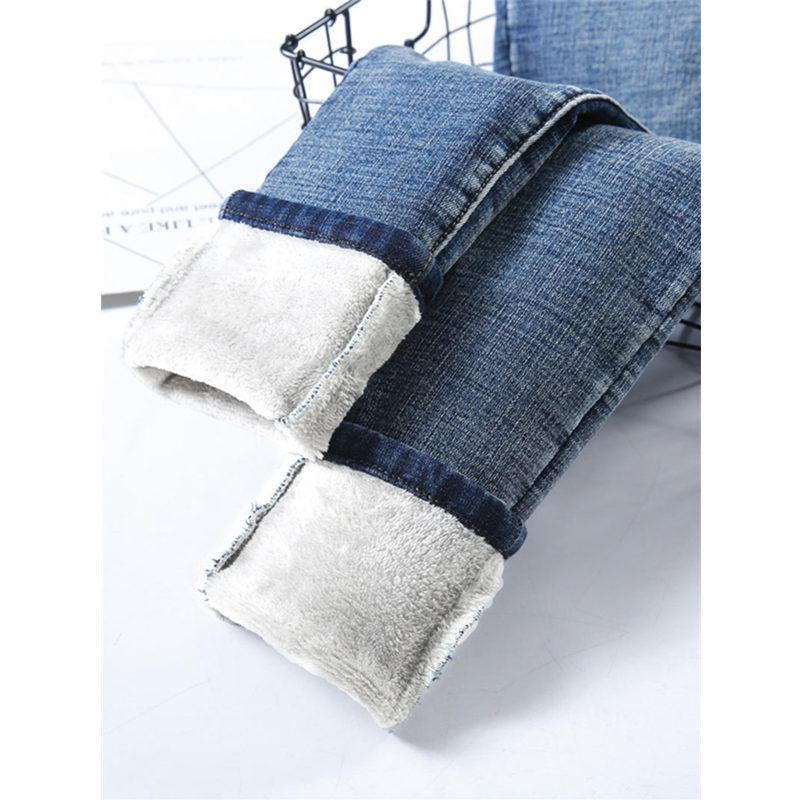 Autumn Winter Plus Velvet Jeans Female Casual Warm High Waist Boyfriend Jeans For Women Students Stretch Streetwear Jeans Q2060