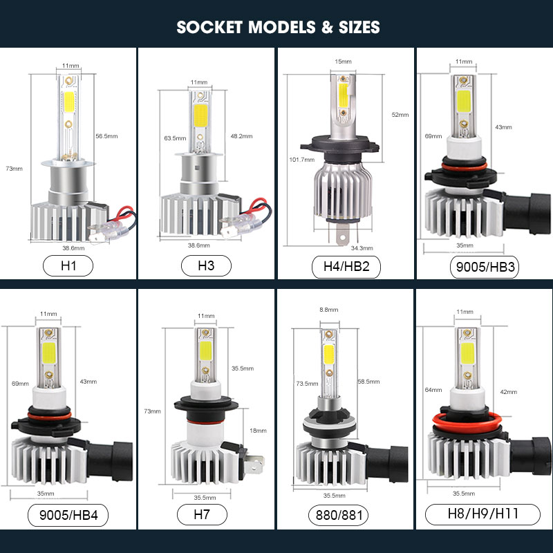 Image 5 - Racbox Car Headlight Bulb LED H7 H1 H3 H4 H11 H8 H27 880 881 COB Chip Super Lamp 3000K 6000K 10000K Hb4 Hb3 9005 9006-in Car Headlight Bulbs(LED) from Automobiles & Motorcycles