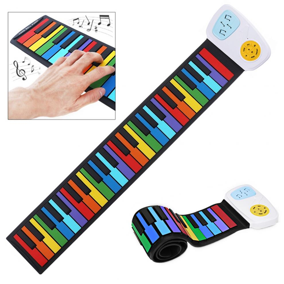 49 Keys Colorful  Flexible Beginner Hand Roll Up Piano Gift For Kids Child Silicone Toy Children Gifts Electronic Organ Hot
