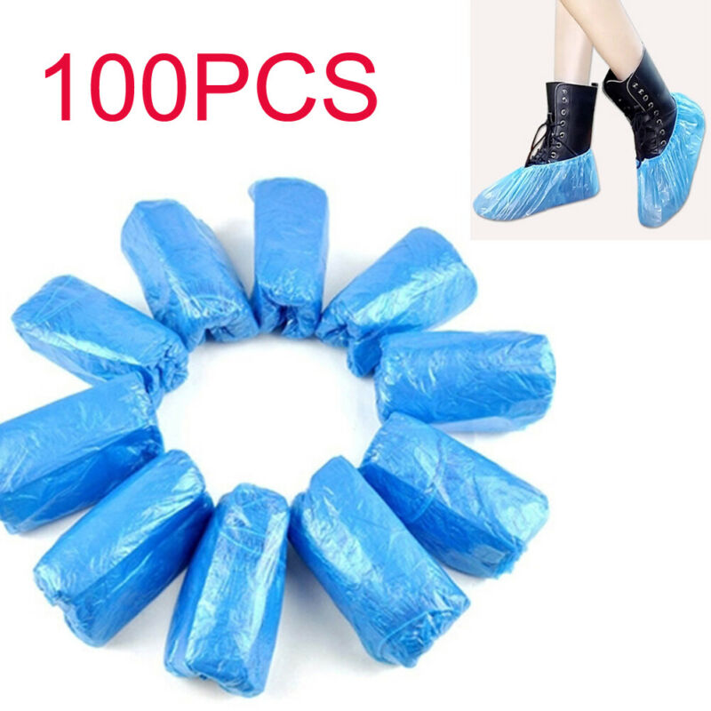 100Pcs Disposable Plastic Anti Slip Shoe Covers Cleaning Overshoes Protective
