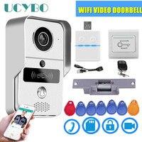 Wifi video doorbell IP security wireless video doorphone camera 4G Keyfobs electric lock smart wifi video intercom system kit