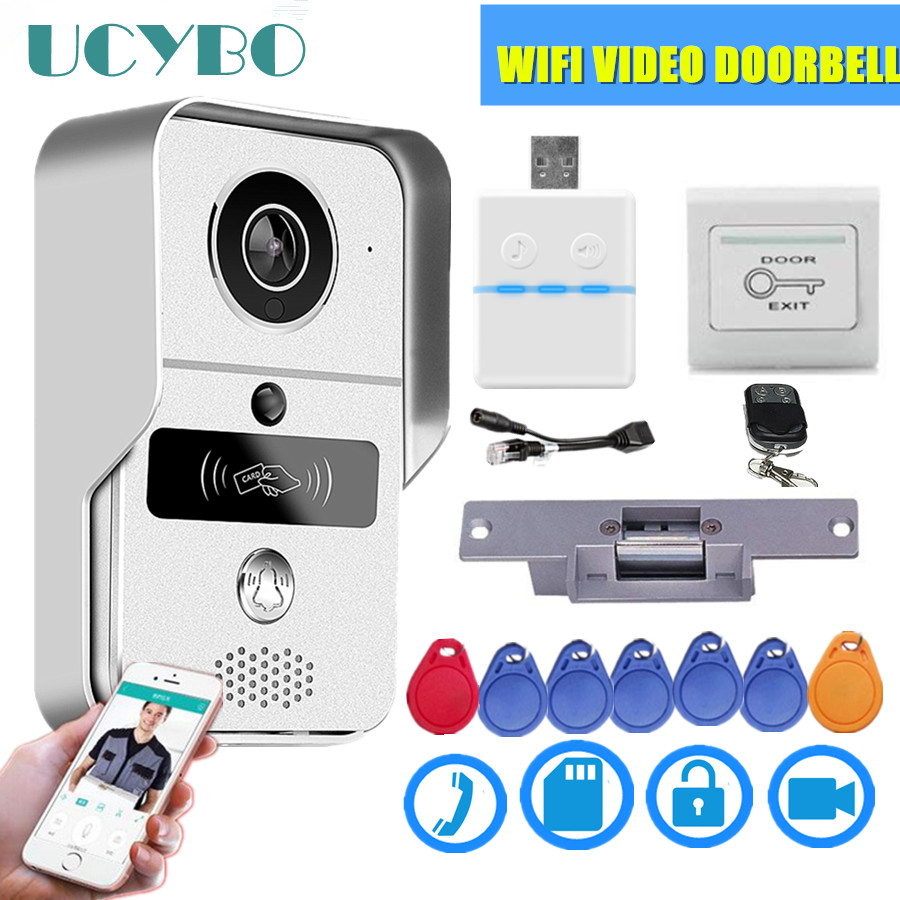 Wifi Video Doorbell IP Security Wireless Video Doorphone Camera 4G Keyfobs Electric Lock Smart Wifi Video Intercom System Kit