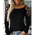 Женские модные с вырезом, с вырезами, украшенное стразами, с длинными рукавами, футболки для мальчиков, повседневные футболки с короткими ру...