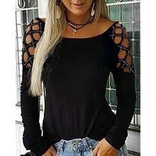 女性のtシャツブラックホワイトtシャツレディース固体ダイヤモンドラウンドネックセクシーな毎日掘削中空長袖tシャツトップス