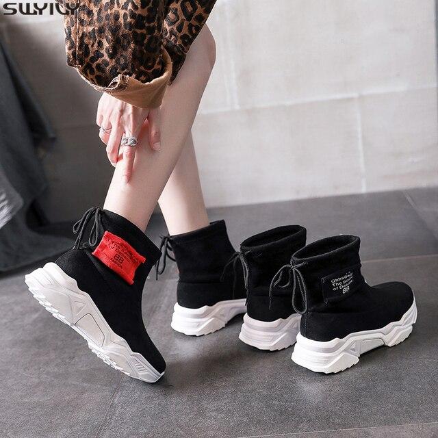SWYIVY צאן פלטפורמת מגפי גבירותיי נעלי טריז אישה 2019 חדש סתיו מקרית קרסול מגפי נעלי נשים להחליק על נעליים שחורות