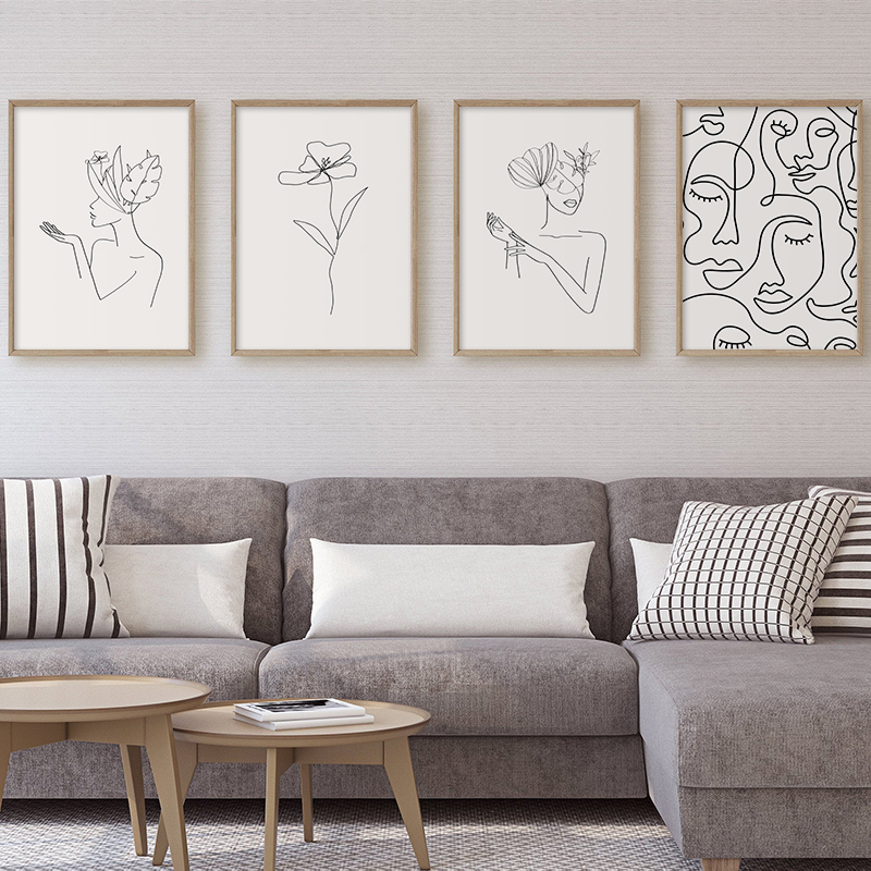 Canvas Panels Home Kitchen Wall Art Poster Women Face Line Drawing Posters And Prints Home Decor Wall Pictures For Living Room Canvas Painting Art 50x70cm No Frame