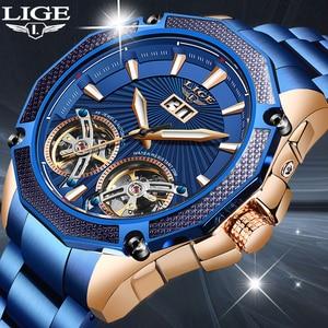 LIGE Men Watch Double tourbillon Automatic mechanical watch All steel Top Brand Dress Luxury Tourbillon Wristwatch Gift for Male