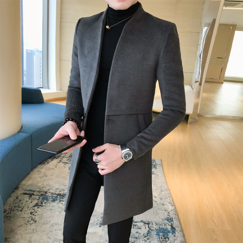 2019 New Winter Woolen cloth overcoat Mens Single Button Coats Fashion Men Solid Business Casual Long Trench Jacket