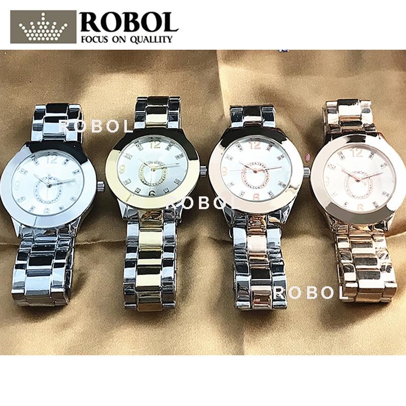 RLLEN Stainless Steel Men Women Couples Quartz Watches Fashion Luxury Jewelry Gift Charm Temperament Elegant Generous