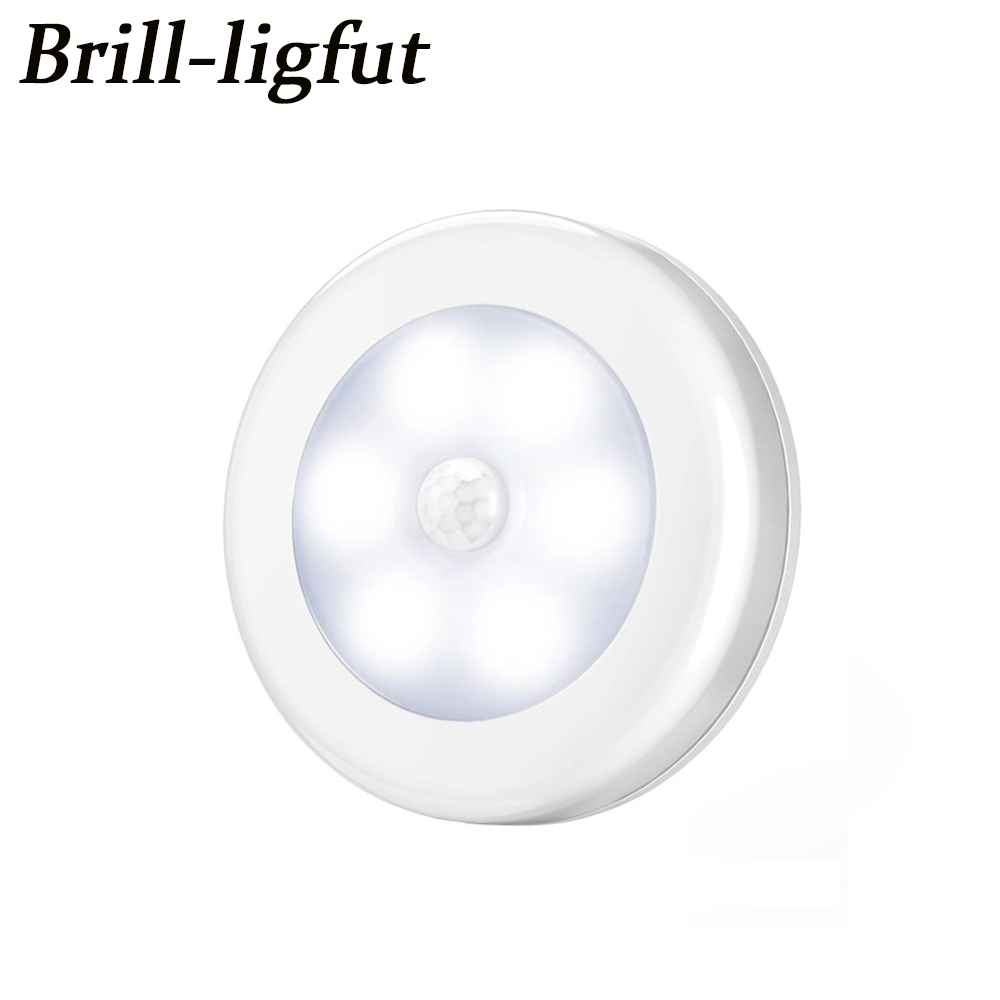 Smart Body Motion Sensor 6 LED Night Light Wireless Detector Hallway Pathway Closet Wall Lamp Light With Magnet Auto On/Off