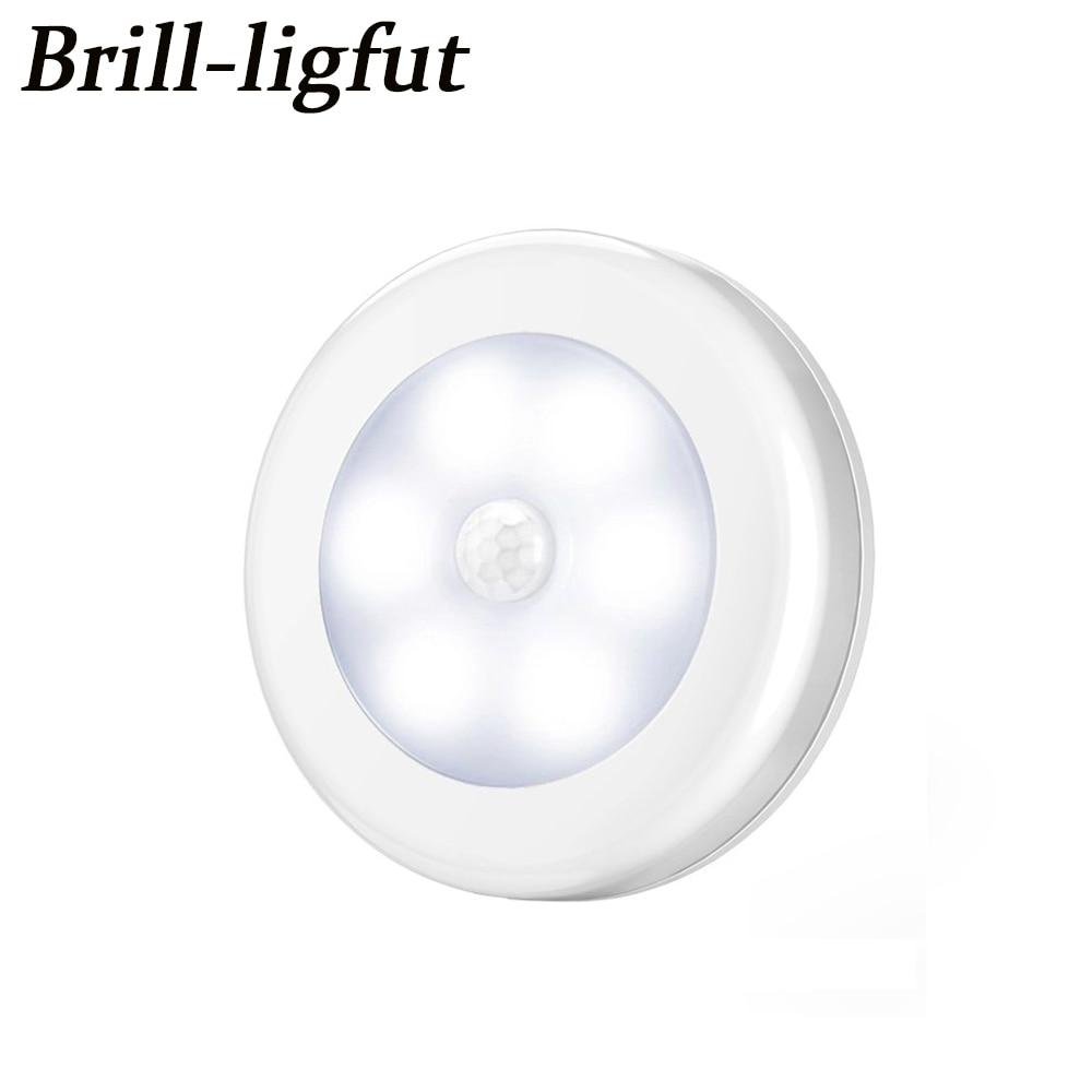Smart Body Motion Sensor 6 LED Night Light Wireless Detector Hallway Pathway Closet Wall Lamp Light With Magnet Auto On/Off