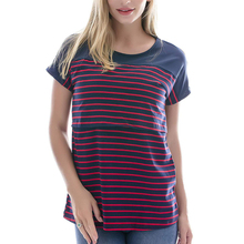 Striped Maternity Women Tops Tees Pregnancy T-Shirt 2019 Summer Short Sleeve O-Neck Nursing For Pregnant Clothes S-XL D30