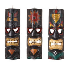 Retro Solid Wood Indonesia Mask 3D Stereo Wall Hanging Personality Home Decoration Art Bar Hotel Wall Decoration Mural R3389(China)