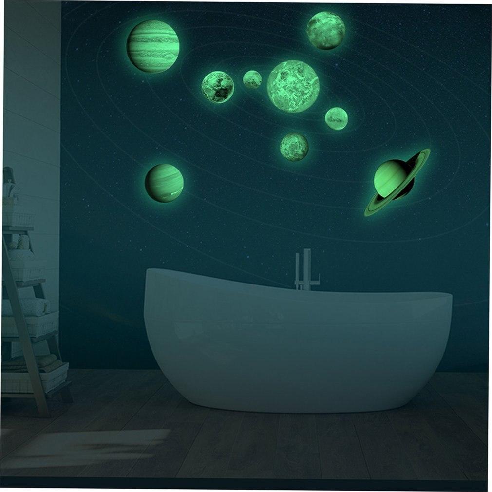 Neuf planètes lune lumière autocollant PVC auto adhésif autocollant enfants chambre fond papier peint Design mignon - 2