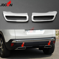 For Peugeot 3008 MK2 5008 2016 2017 2018 2019 ABS Chrome Car Styling Rear Tail End Tips Pipe Exhaust Muffler Cover Trim Molding