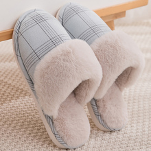 Купить с кэшбэком Winter Woman Slippers Large Size 43-45 Fashion Gingham Plush Comfortable Fur Slippers Women Shallow TPR House Shoes