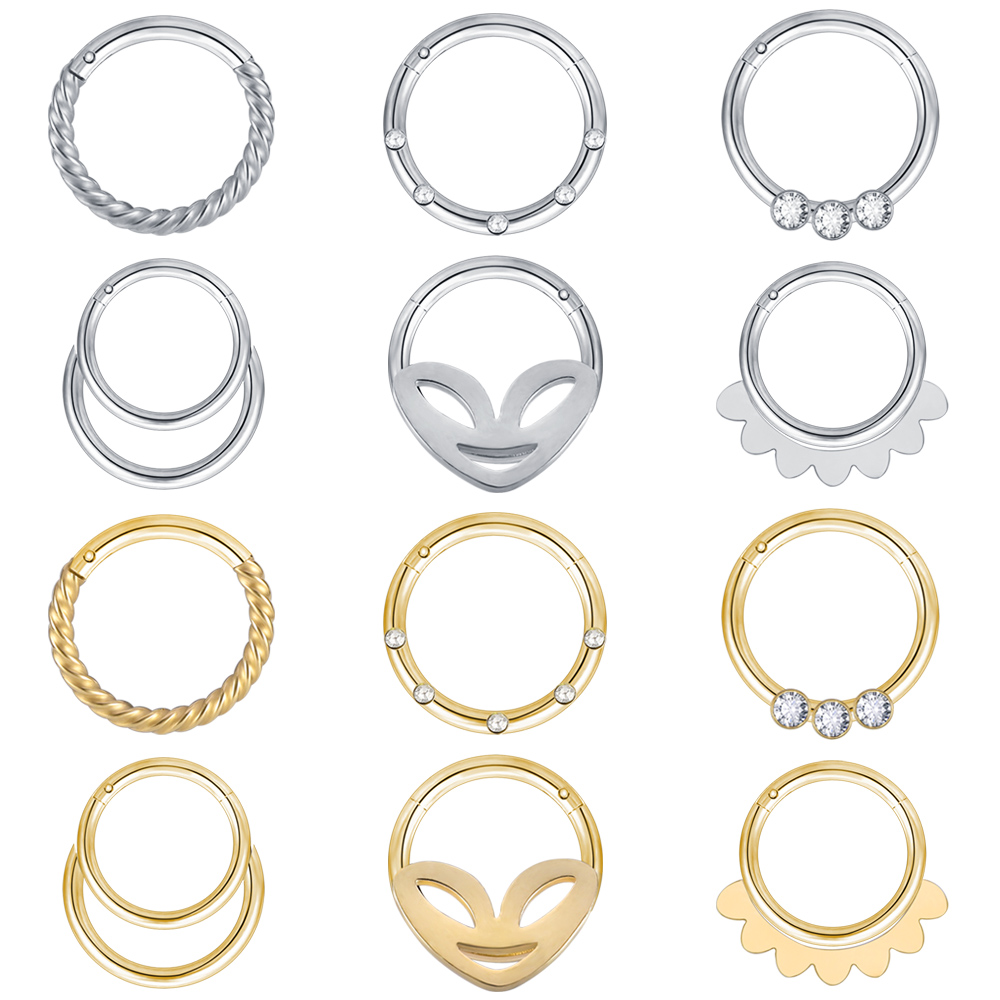 ZS 2020 Stainless Nose Piercings Ring 1pc Surgical Steel Nose Hoop Stud and Rings For Women Men Body Nose Piercings Kit Jewelry