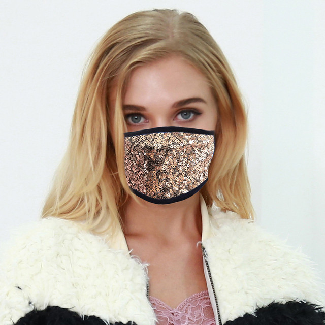 #H40 Fashion Sequin Face Mask Women Dustproof Windproof Face Mouth Mask Breathable Reusable Washable Cycling Mask 1