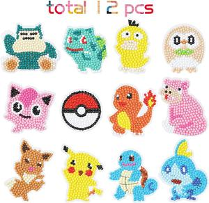5D DIY Diamond Painting Kits for Kids, Pikachu Theme Stick Paint with Diamonds by Numbers Kit Easy to DIY, Mosaic Stickers Craft
