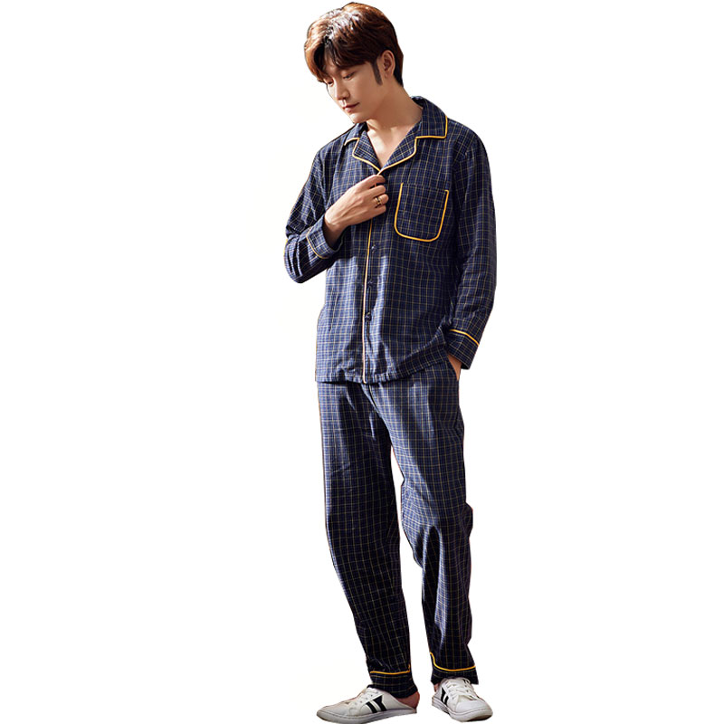 Trousers Pyjamas Home-Service Cotton Long-Sleeved Autumn Cardigan Lattice Lapel Men Luxury