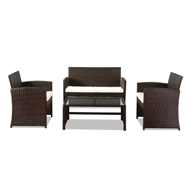 4 PCS Outdoor Rattan Chair Wicker Sofa Garden Bistro Sets  3